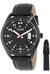 Calibre Men's SC-4T1-13-007SL Trooper Black Ion-Plated Coated Stainless Steel Interchangeable Black Rubber Leather Straps Watch Set