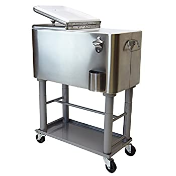 Oakland Living AZ91009-80-SS Stainless Steel 20 Gallon Cart Outdoor Cooler with Wheels, Medium