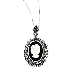 Sterling Silver Marcasite, Onyx & Mother Of Pearl Cameo Necklace