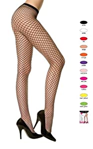 Ultra Hot Quality Queen Size Seamless Diamond Net Pantyhose (Various Colors)