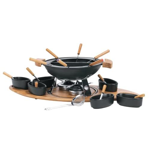Amazon.com: Trudeau Elite 3 in 1 Cast Iron Fondue Set with Bamboo Base