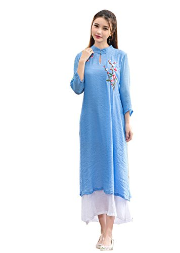 Womens Loose Chinese Wind Embroidered Fake Two Piece Split Long Linen Dress