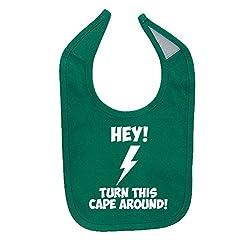 Mashed Clothing Unisex-Baby Hey! Turn This Cape Around Funny Superhero Cotton Baby Bib (Kelly Green)