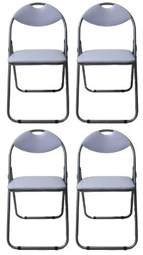 Pack of 4 White Padded Folding Office, Desk, Poker Chair.