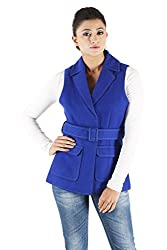 Owncraft Women's Woolen Jacket (Own_621_Blue_Large)