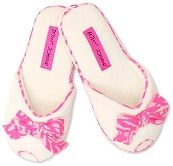 Betsey Johnson Women's I Heart Slipper Peep Toe Mule, Cream, Small