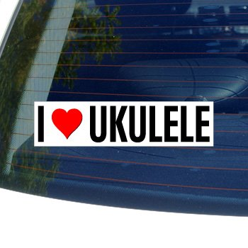 I Love Heart UKULELE - Window Bumper Sticker