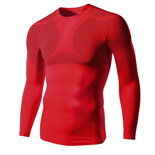 JOGAL Mens Quick Dry Compression Baselayer Long Sleeve Elastic Sports T shirts Medium Red