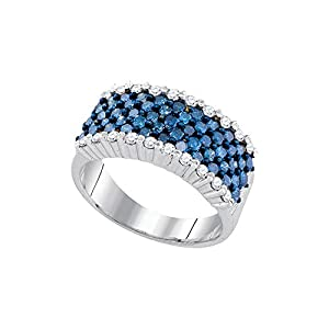 10kt White Gold Womens Round Blue Colored Diamond Cocktail Band Fashion Ring (1.50 cttw.)