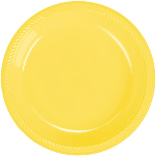 Yellow Plastic Dinner Plates - Lemon Merengue Yellow - 20 Count