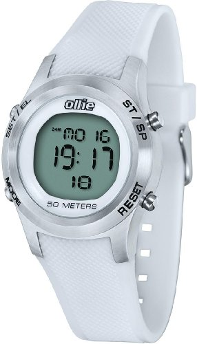 Ladies White Digital Rubber Sport Stop Watch by Ollie Cso-a0569-B