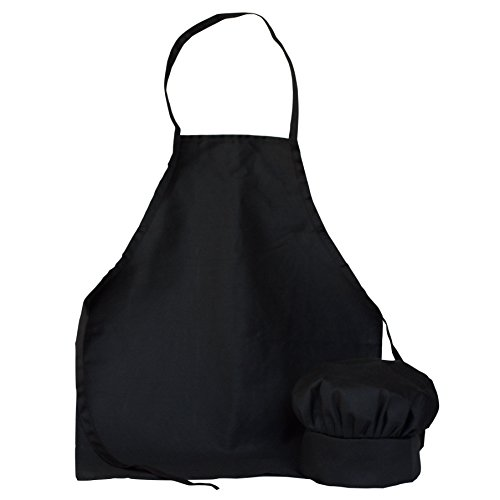 ObviousChef Kids - Child's Chef Hat Apron Set, Kid's Size, Children's Kitchen Cooking and Baking Wear Kit for those Chefs in Training, Size (M 6-12 Year, Black)