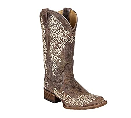 Corral Womens Crater With Bone Embroidery Cowgirl Boot Snip Toe