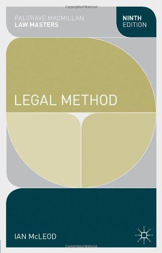 Legal Method Palgrave Macmillan Law Masters Pdf By Ian Mcleod