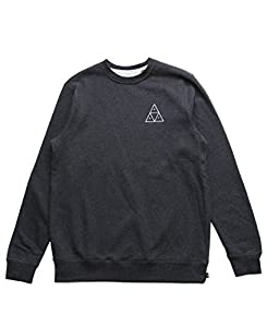 HUF Men's Triple Triangle Crew, Charcoal Heather, Large