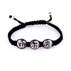 Hindu Om Shanti Silver Bracelet with Diamonds of 0.02 carats on Adjustable Nylon thread
