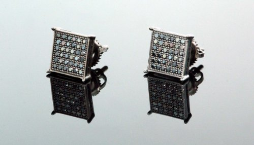 .925 Sterling Silver Black Square Black Onyx Crystal Micro Pave Unisex Mens Stud Earrings 10mm