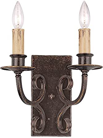 Jeremiah 23622-BA, Brookshire Manor Candle Wall Sconce Light, 2LT, 40 Watts, Burnished Armor