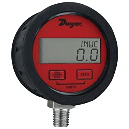Dwyer DPGAB Series Digital Pressure Gauge with Boot, Dry Air, Range 0 to 500 psig
