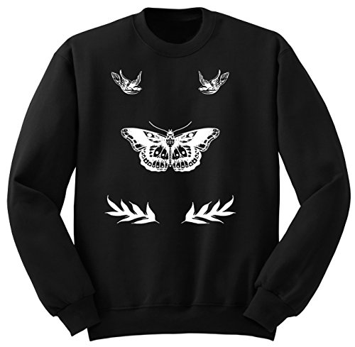 Harry Styles Tattoo / One Direction Clothing / Sweatshirt / Felpa / SW103 (L, Nero)