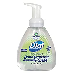 Dial Professional 1700006040 Antibacterial Foaming Hand Sanitizer, Pump Bottle, 15.2 oz., Clear (Pack of 4)