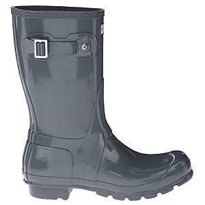 Hunter Womens Original Short Gloss Graphite Rain Boot - 6