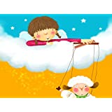Tallenge Art For Kids - Little Girl With Play Puppet Lamb Doll - A3 Size Rolled Poster For Kids Room Decor