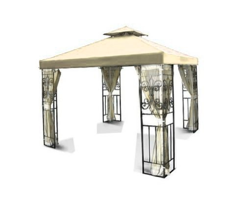Flexzion 12'x12' Gazebo Replacement Canopy Top Cover (Beige) - Dual Tier with Plain Edge Polyester UV30 Waterproof for Outdoor Garden Patio Pavilion Sun Shade