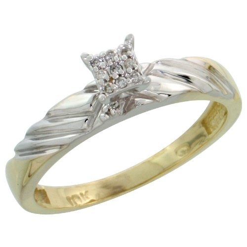 10k Gold Diamond Engagement Ring, w/ 0.06 Carat Brilliant Cut Diamonds, 1/8in. (3.5mm) wide, Size 9