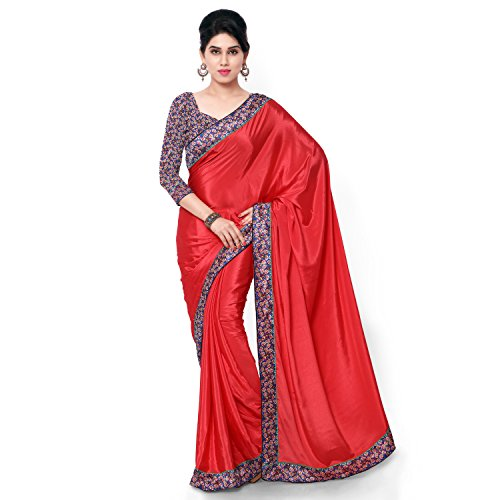 2f4a7cd0f Red Plain Turkey With Digital Printed Blouse Saree Price in India ...