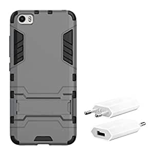 Chevron Rugged Terrain Armor Protective Shockproof Kick Stand Back Cover Case for Xiaomi Mi 5 with USB Mobile Wall Charger (Grey)