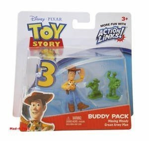 Disney / Pixar Toy Story 3 Action Links Mini Figure Buddy 2Pack Waving Woody Green Army Men - 1