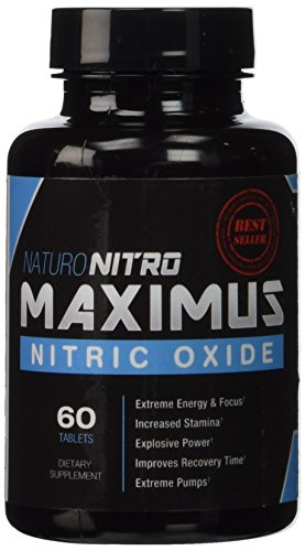 Naturo Nitro Maximus NO2 Nitric Oxide Tablets — High Potency NO Booster and L-arginine Supplement - Allows You to Build Muscle Faster, Workout and Train Longer and Harder — 60 Tablets
