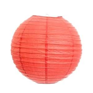 Koyal 14-Inch Paper Lantern, Coral, Set of 6