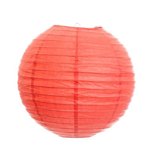 Koyal 10-Inch Paper Lantern, Coral, Set of 6