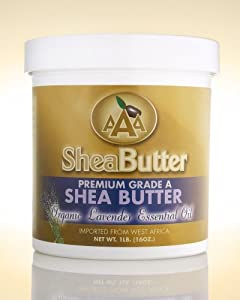 100% Unrefined Certified Grade A Shea Butter with a Hint of Organic Lavender Essential Oil 16 oz. By AAA Shea Butter
