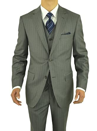 Gino Valentino 3 Piece Men's Suit 2 Button Jacket Vested Gray Stripe (36 Regular US)