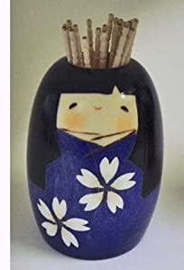 Kokeshi Doll Toothpick Holder #GKU22Blue