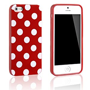 Tinxi Silikon Schutzhülle für Apple iPhone 5S iPhone 5 Hülle Silicon Rückschale Gel Skin Cover Case Etui rot mit weiß Punkt Polka Dots