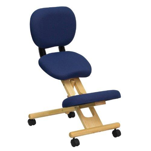 Mobile Wooden Ergonomic Kneeling Posture Chair in Navy Blue