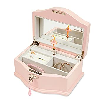 JewelKeeper Girls Wooden Musical Jewelry Box with Lock and Key, Classic Design with Ballerina and Mirror, Swan Lake Tune, Rose Pink