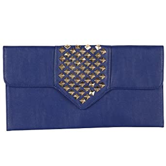New Womens Royal Blue Faux Leather Ladies Gold Studded Flat Evening Party Clutch Bag