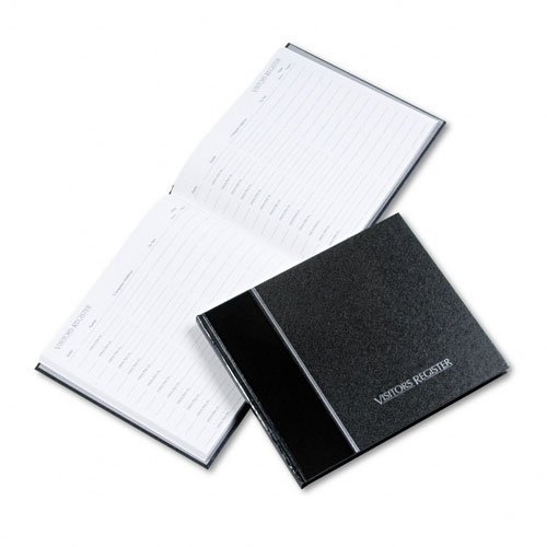 National Brand Products - National Brand - Visitor Register Book, Black Hardcover, 128 Pages, 8 1/2 x 9 7/8 - Sold As 1 Each - Columns for Date, Name, Company/Address, Person to See, Arrive/Depart Times. - Holds more than 1,500 entries. - Convenient ribbon place marker.