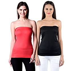 NumBrave Womens Red, Black Tube Top (Combo of 2)