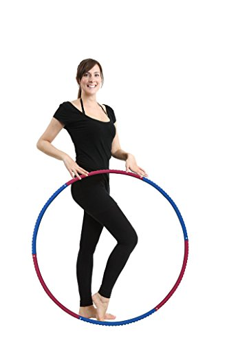 Fit Pop - Professional Weighted Hula Hoop for Fitness, 6-segmented, Workout for Adults and Kids, Exercise, Weight Loss and Perfect Body. Lightweight Metal Construction ABS Foam Padded