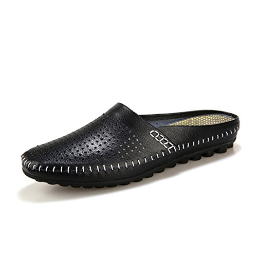 T.B Unisex adulto scarpe da esterni e interni, Spiaggia Piscina Sandali Mule pantofole infradito, Black, UK 6.5 - EU 40.5