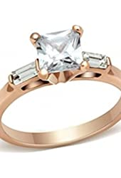 Tori's Princess & Baguette Shape CZ Rose Gold Ring