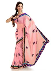 Designersareez Women Chiffon Embroidered Flamingo Pink Saree With Unstitched Blouse(1158)