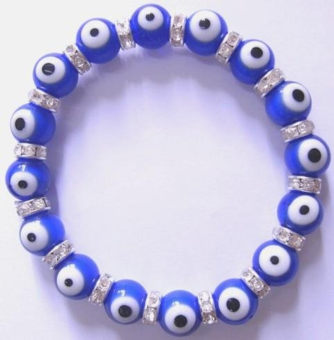 Ladies Evil Eye Dark Blue Lampwork Stretch Bracelet