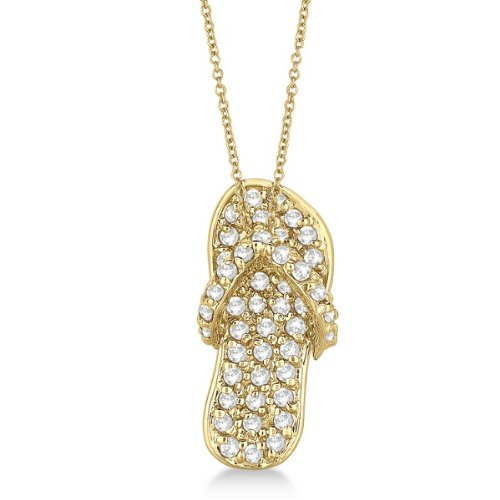 Flip Flop Shaped Diamond Pendant Necklace 14K Yellow Gold Hawaiian Slippers With Chain (1/2Ct)